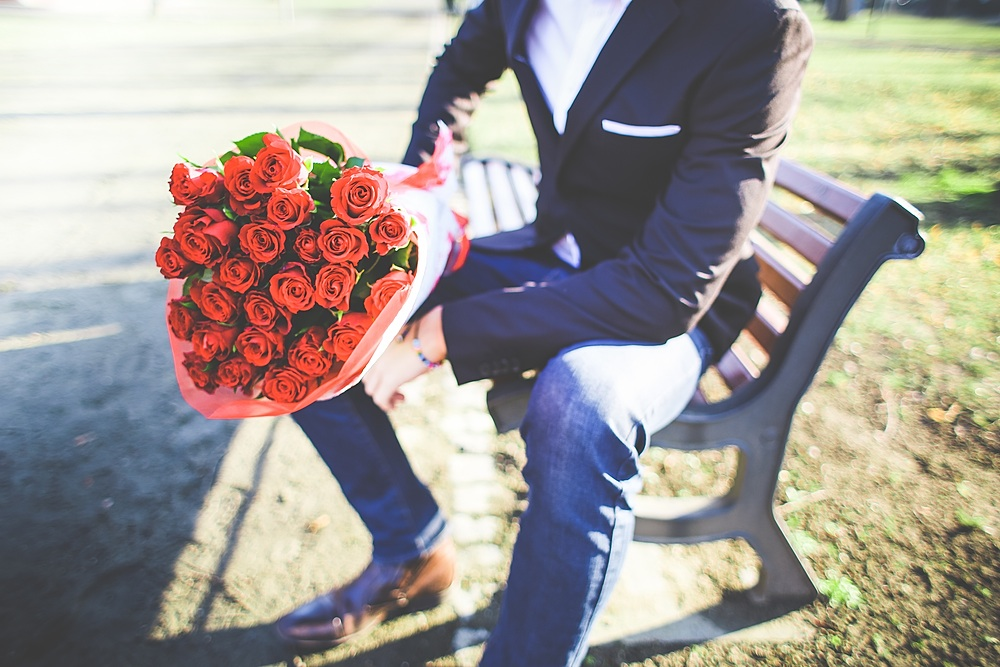 Man with a Bouquet of Roses