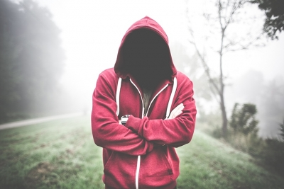 Creepy Man Without a Face in a Hoodie